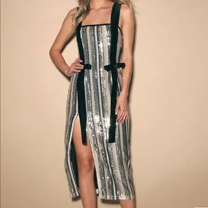 Striped Sequin Midi Dress
